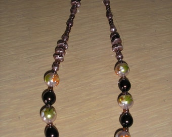 Genuine Hand Painted pearls/Glass beads and pearls/browns & Bronze