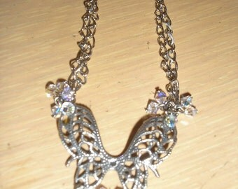 Butterflies are Free pendant/filligre butterfly with swarovski crystals