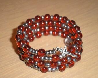 Rosary Bracelet/Girls Orange rounds with gunmetal glass seed beads