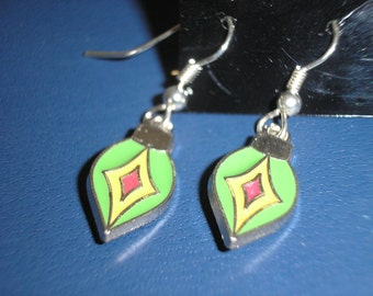 Christmas ornament earrings with enameling/green yellow and red