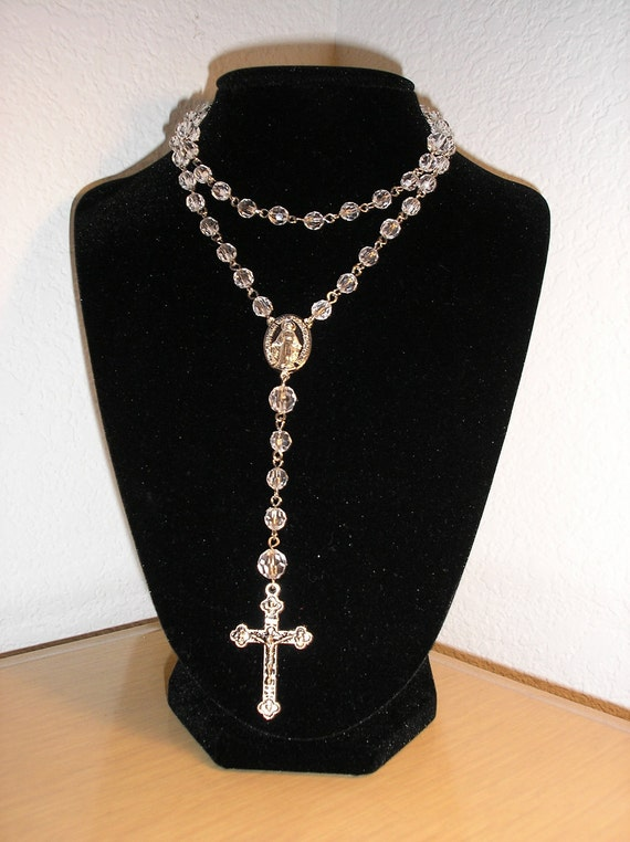 Rosary/Clear faceted rounds large