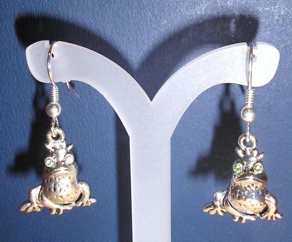 The Frog Prince/Pierced earrings with genuine swarovski crystal eyes