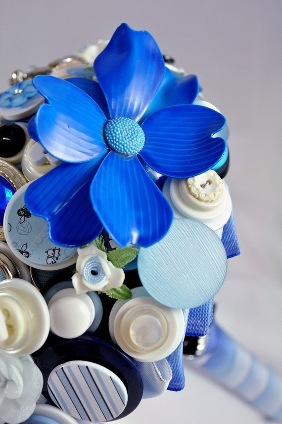 Blue Buttons and Brooches Bouquet - FREE SHIPPING - PTYL 1640