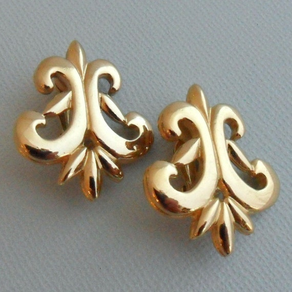 GIVENCHY Earrings - Gold Plated Clips Vintage 1980s Fleur-de-lis Scroll Design Classic Elegant Traditional