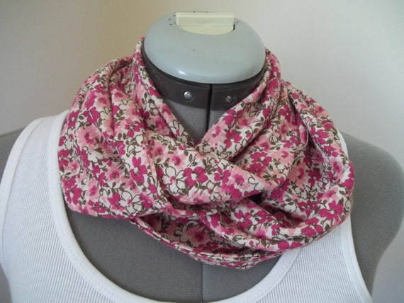 Pink Floral Infinity Scarf in Lightweight Cotton Gauze