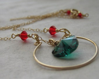 Circle of love, Christmas Gift, Green Emerald Heart, Red Swarovski crystal, 14K Gold Fill Necklace, Gold Circle, Hand crafted