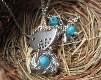 Mother Bird, Egg Nest, Silver Necklace, Gift for Expectant Mommy, Only Child. New Baby, Cute little bird, Silver Necklace