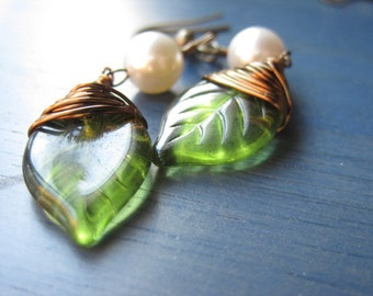 Czech Glass Green Leaf, antique Bronze wire wrapped, Earring, Elegant, Romantic, Valentine Gift