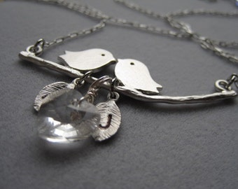 A Couple Birds in love personalized with initials and Swarovski Clear Heart Crystal - - Silver Necklace