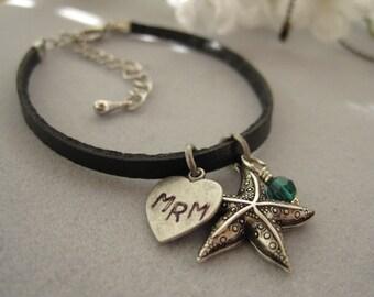 Starfish charm, Personalized, Heart pendant, Swarovski crystal charm, Leather Bracelet, antique silver starfish