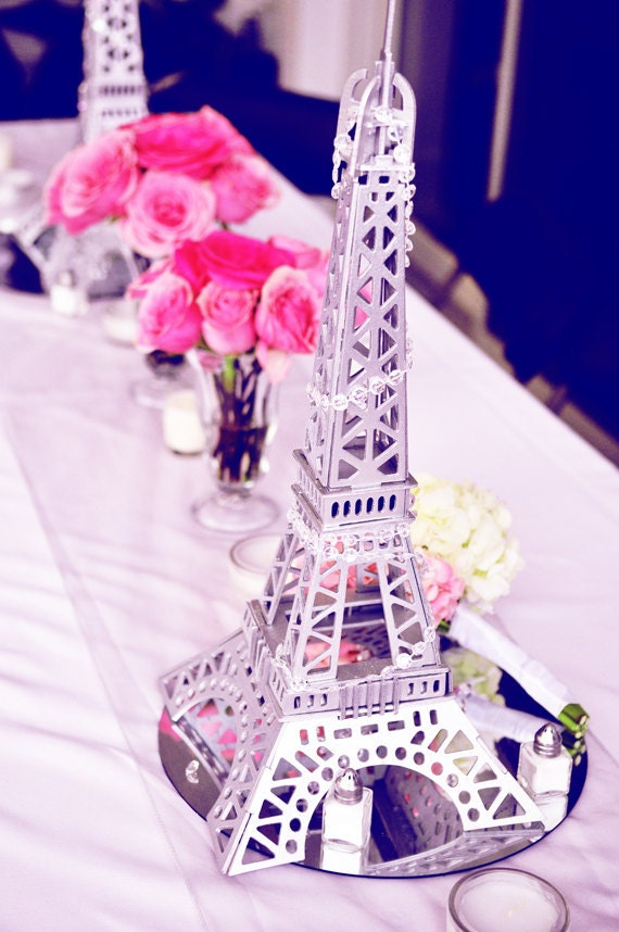 Items similar to wooden eiffel tower centerpiece statue replica french paris wedding any color - French themed table decorations ...
