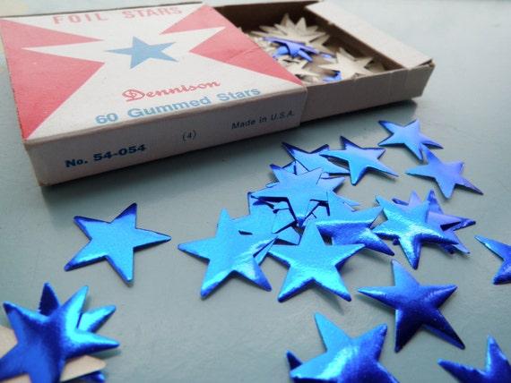 Vintage Blue Foil Stars Gummed Dennison