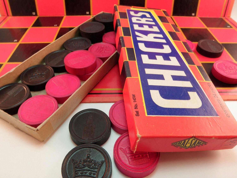 Vintage Wooden Checkers Amp Board Game Milton Bradley Hal Sam