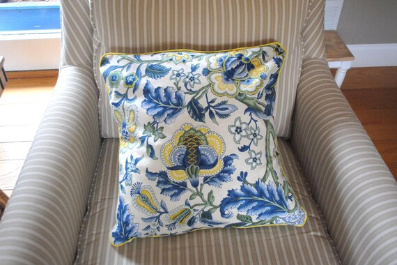 Blue And Yellow Floral Pillow Cover For 18x18 Pillow