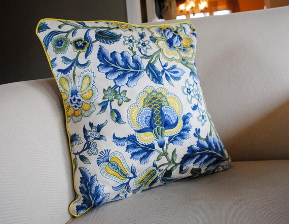 Blue And Yellow Floral Pillow Cover For 18x18 By
