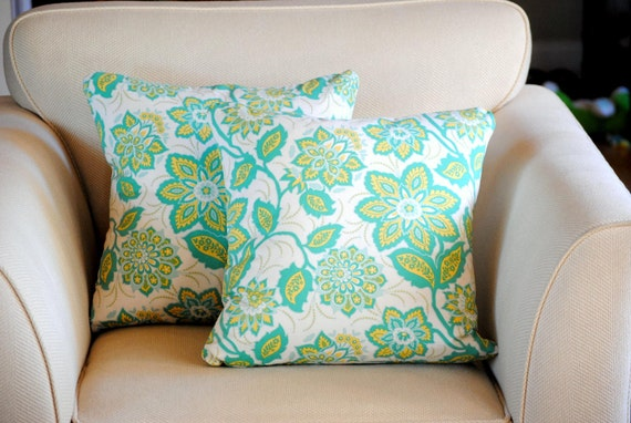 Decorative Floral Pillow covers in green, yellow and white.  Set of two (2) for 18x18 pillow inserts. Joel Dewberry Heirloom fabric.