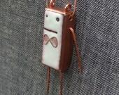 Sally -- white robot enamel pendant -- free chain