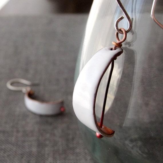 Enamel Earrings -- Graceful Sails