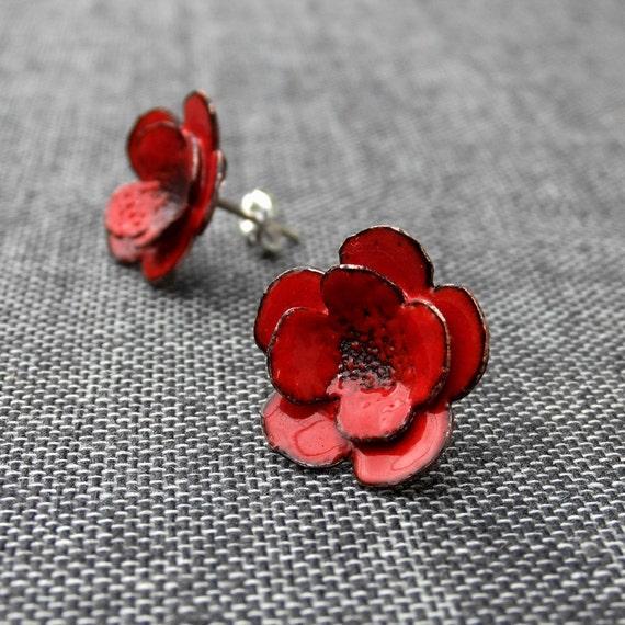 Red Flowers -- glass enamel earrings