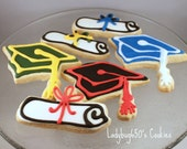12 Graduation cap and diploma cookies, handmade & iced