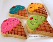 12 Ice cream cone cookies, handmade & iced