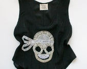 Cropped Silk Camisole Lace Lingerie Tank Top / Black Ivory Skull Bow / Extra Small - Morgana Deco Camisole