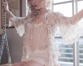 Chemise Petticoat Victorian Camisole Tank Top / White Cream Green Lace Silk / Medium - Ruth Souvenir Top