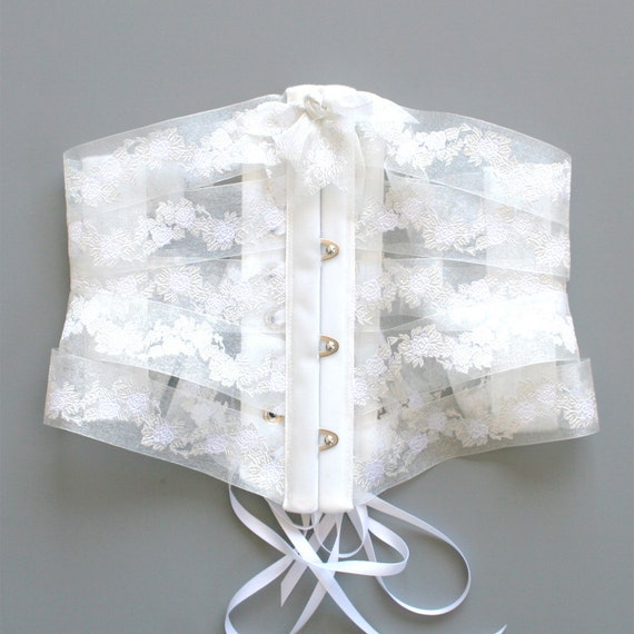 RESERVED: Cincher Corset Ribbon Belt / Bride White Ivory Velvet Organza / Medium - Francine Ribbon Corset