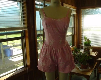 SALE ! Atomic Pink Romper XS 80s does 50s Adorable Bust 34-38 Waist 24-28