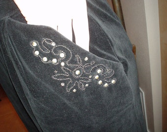 SALE! Jet Black 50s Velvet Skirt w/ Studs & Soutache Small Waist 26