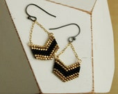 Chevron Earrings : Black and Gold