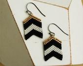 Chevron Flag Earrings : Black, White and Gold