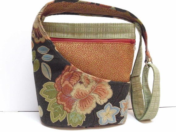 Cross Body Purse, Shoulder Bag, Upholstery Fabric, Floral