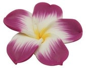 """6 MULTI COLORED Polymer Clay Pansy Violet Plumeria Flower Beads  large, 34mm (about 1.25"""") fuschia, yellow, white pol0036"""