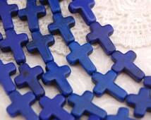 24 Small Stone Cross Beads (1 strand) in DARK BLUE. Sideways cross how0039
