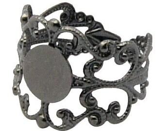 BLACK Gunmetal Brass Metallic Ring Blanks . fully adjustable sizing . 10 pieces fin0066