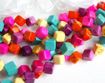 Magnesite 8-10mm GEMSTONE CUBES in Fresh Summer Colors . 1 long strand . about 36 beads  how0113