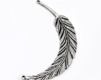 2 LARGE Silver Metal FEATHER CHARMS or Pendants  chs0937