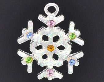 4 pcs Silver Pewter RHINESTONE SNOWFLAKE CHARMS or Pendants . multi colored crystals . che0241