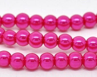 """6mm HOT PINK FUCHSIA Round Glass Pearls . long 32"""" strand . about 145 beads bgl0021"""