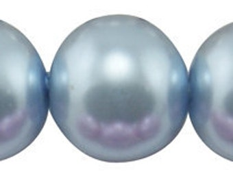 """6mm Light BABY POWDER BLUE Round Glass Pearls . long 32"""" strand . about 140 beads . bgl0417"""