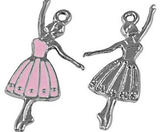10 Pink BALLERINA DANCER Ballet Charm Pendant   31x14mm   CHE0002b