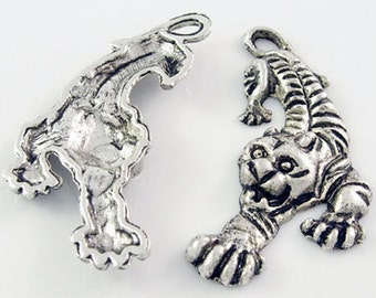 4 Silver Metal PANTHER or TIGER MASCOT School Team Charms or Pendants .  33x17mm. chs0737