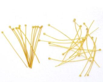 "50 Gold Plated High Quality Ball Head Pins, 1.75"" long (45mm)  22ga  22 gauge pin0069a"
