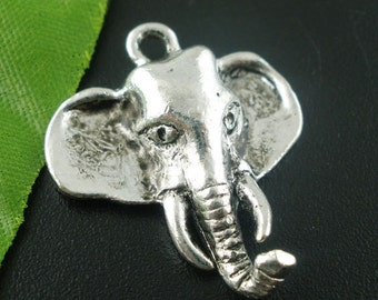 10 Antique Silver Tone Metal Pewter ELEPHANT Head Charms chs0719