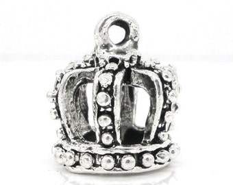 4 Silver Tone Pewter KING'S CROWN Charm Pendants 16x14mm  3-D  chs0683