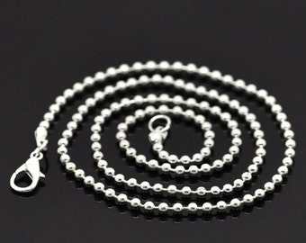 "One Dozen (12) Silver Plated BALL CHAIN Necklaces, lobster clasp, 20"" long   fch0031"