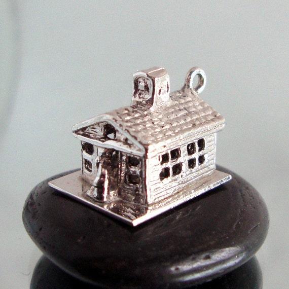 Vintage Estate Sale 3D Sterling Silver COUNTRY CHURCH Charm Pendant for your favorite bracelet