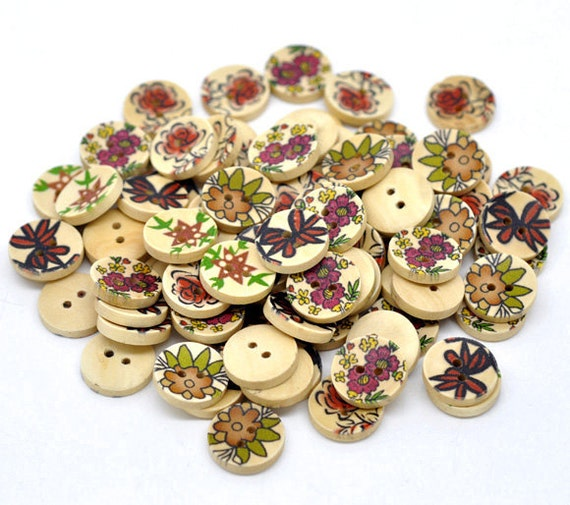 Painted WOOD BUTTONS . 15mm . Scrapbooking . Beading . Sewing . 20 pieces but0171