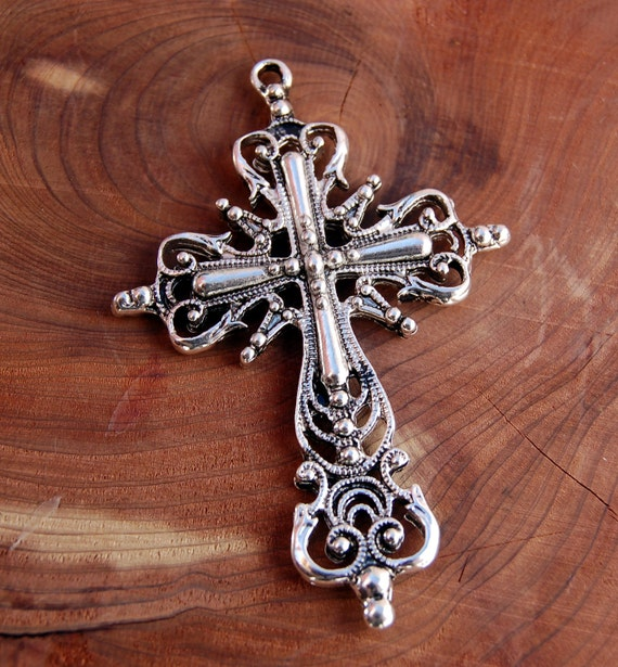 """Large Ornate PEWTER FILIGREE CROSS about 2.5"""" long . double sided (1) chs0693"""